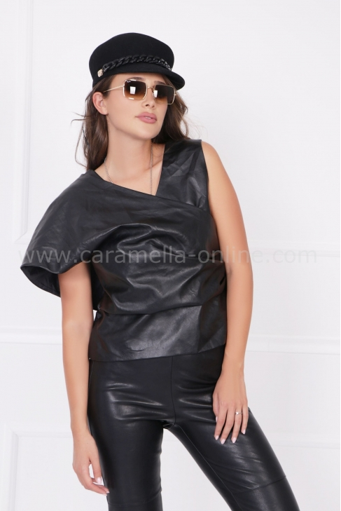 Top Black Leather 022473